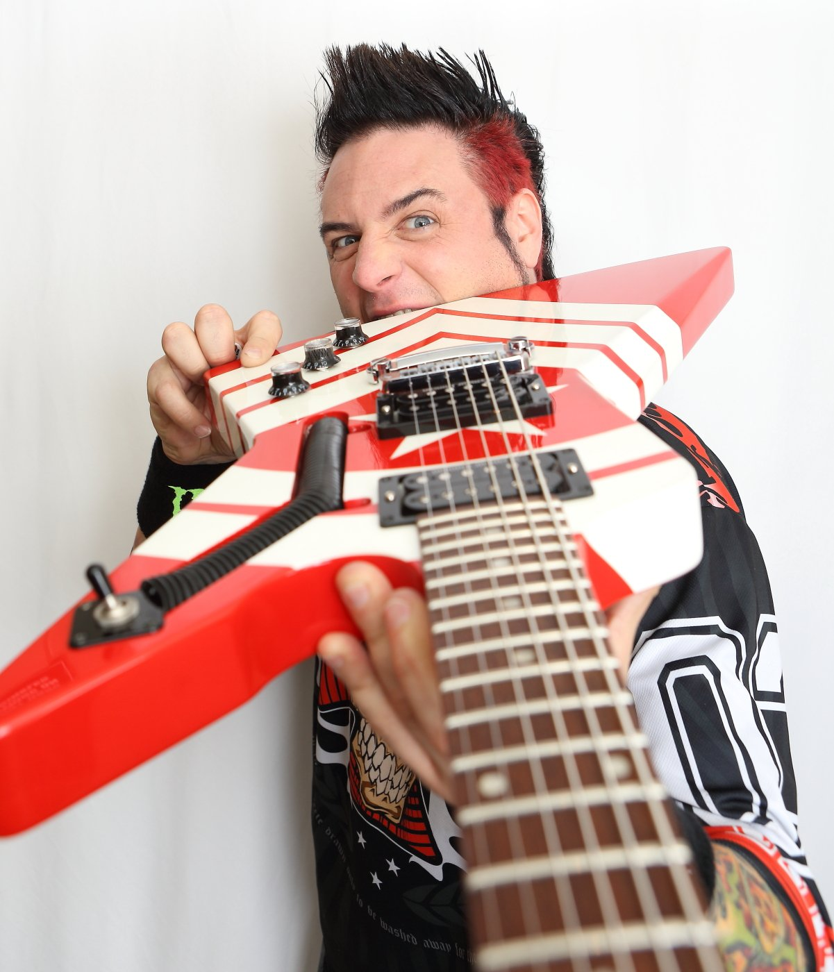 Jason Hook, guitarist of Five Finger Death Punch pictured with his M4 Sherman signature guitar. Photo by Harry Reese