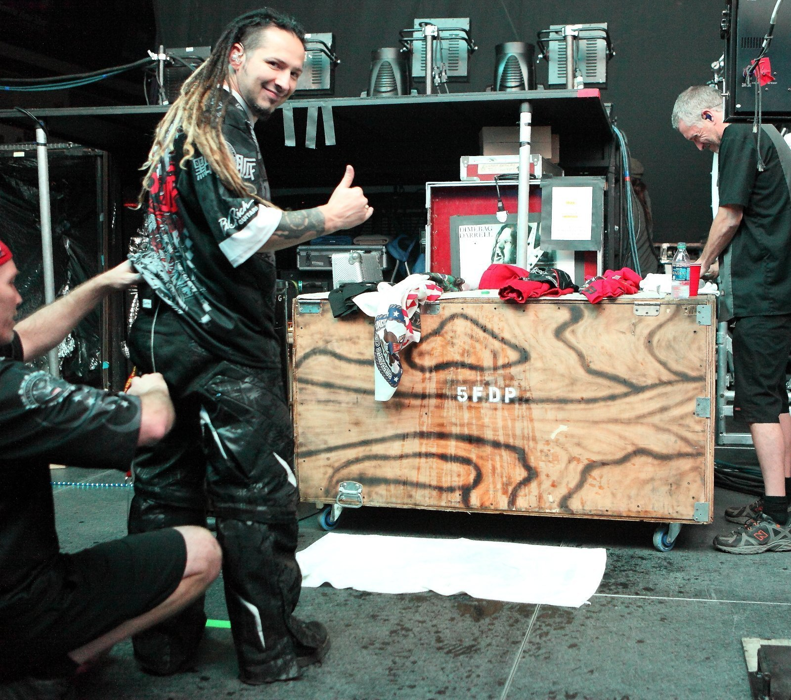 Zoltan Bathory of Five Finger Death Punch preparing for a show. Photo by Harry Reese