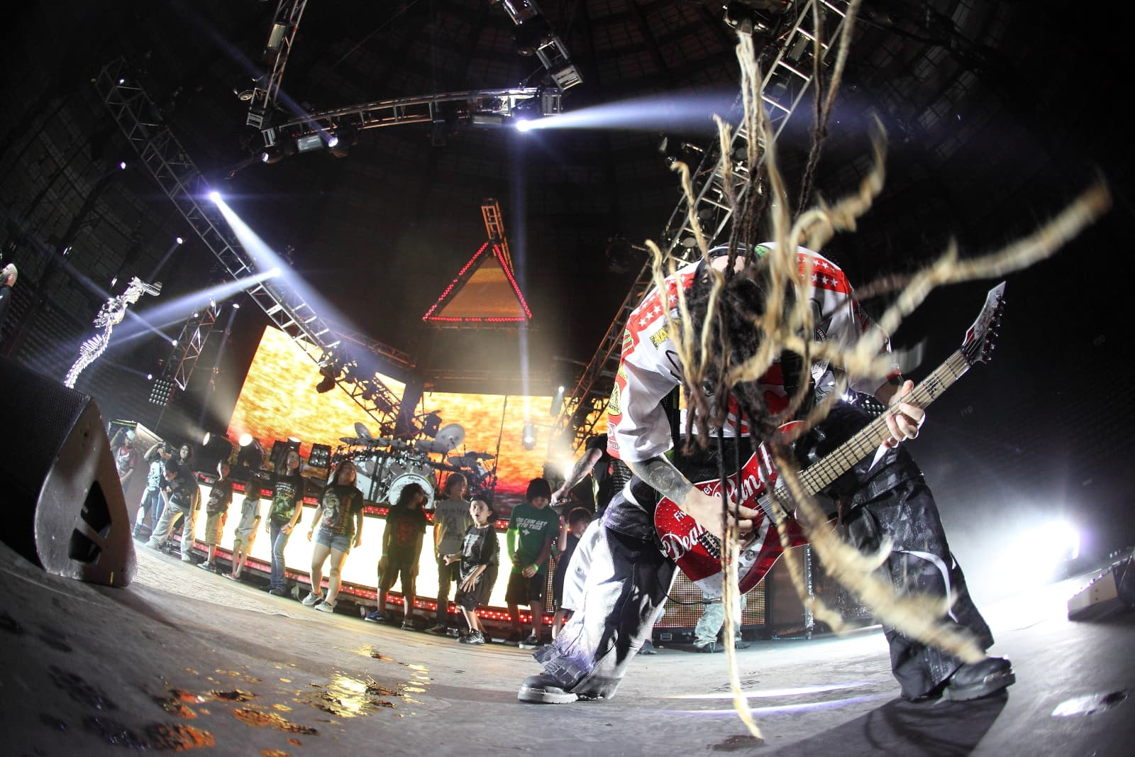 Zoltan Bathory, guitarist of Five Finger Death Punch in action at a live show. Photo by Harry Reese