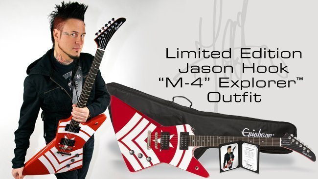 Jason Hook of Five Finger Death Punch with his signature Epiphone guitar