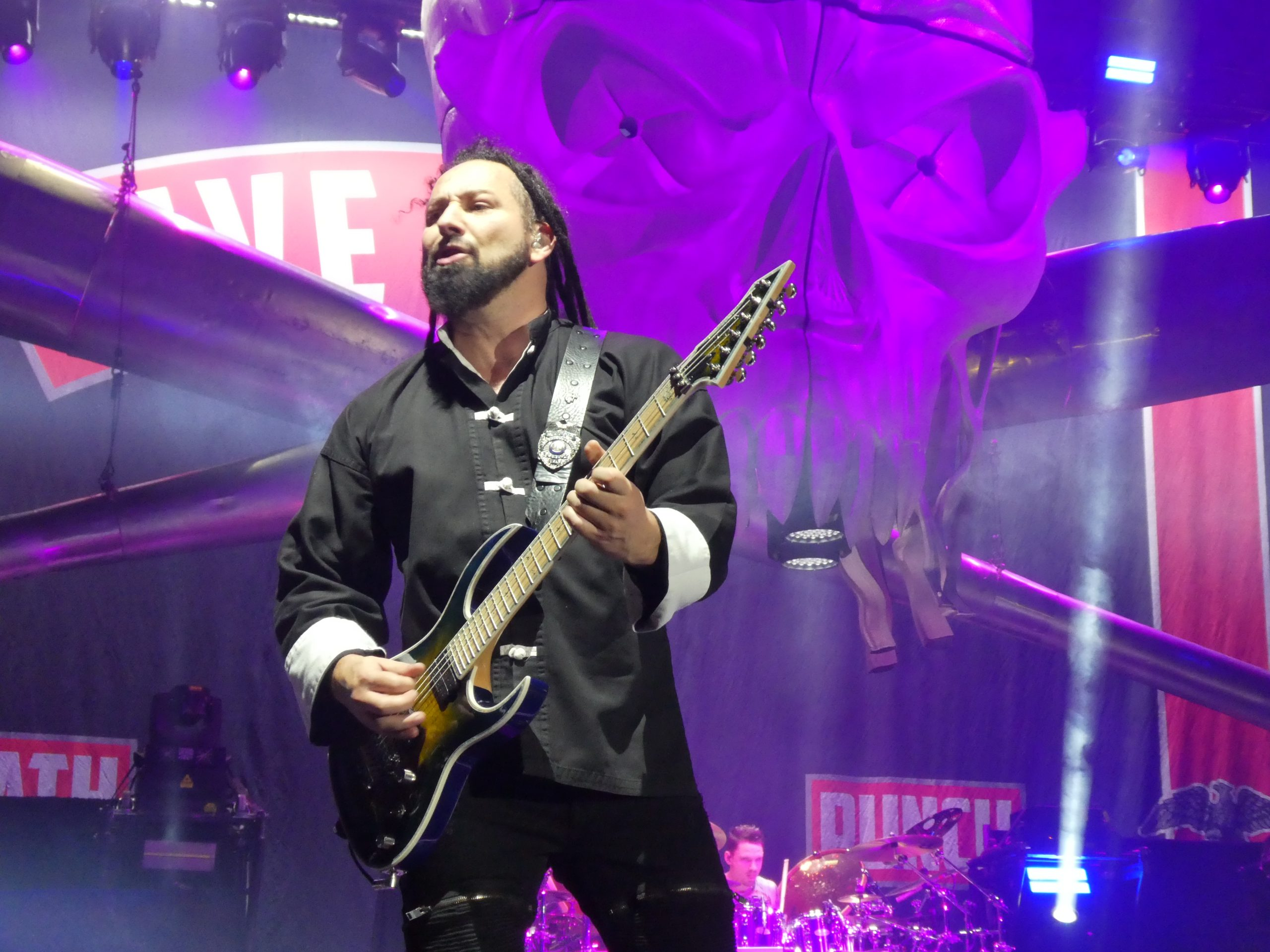 Zoltan Bathory, guitarist of Five Finger Death Punch in action on the 2020 Megadeathpunch UK tour