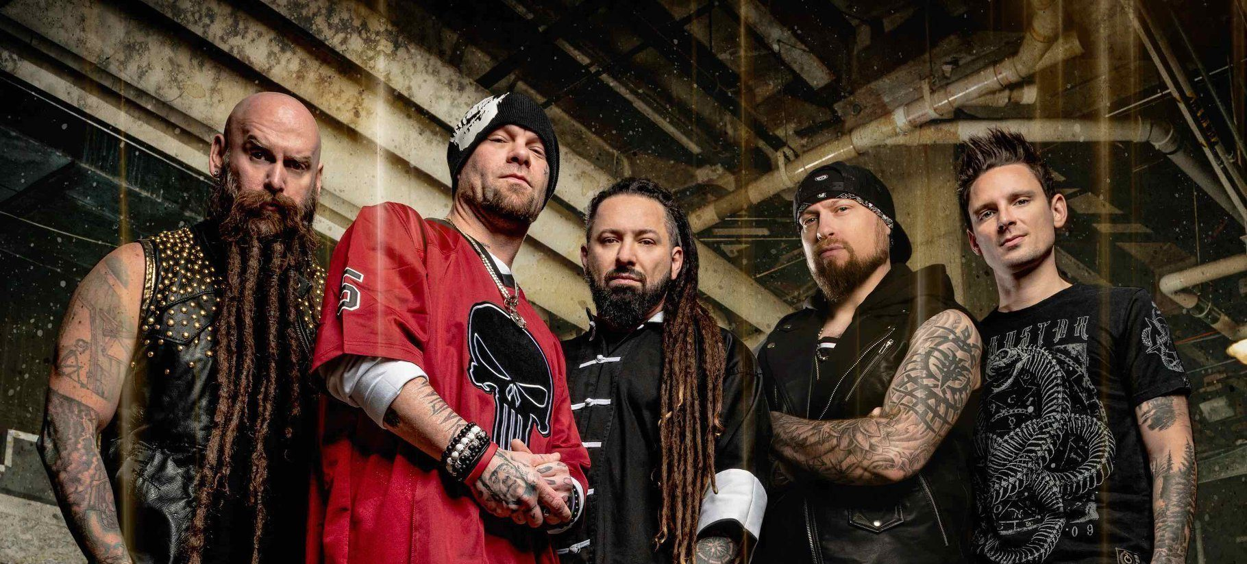 5FDP Band Photo 2020 featuring Chris Kael, Ivan Moody, Zoltan Bathory, Andy James and Charlie Engen